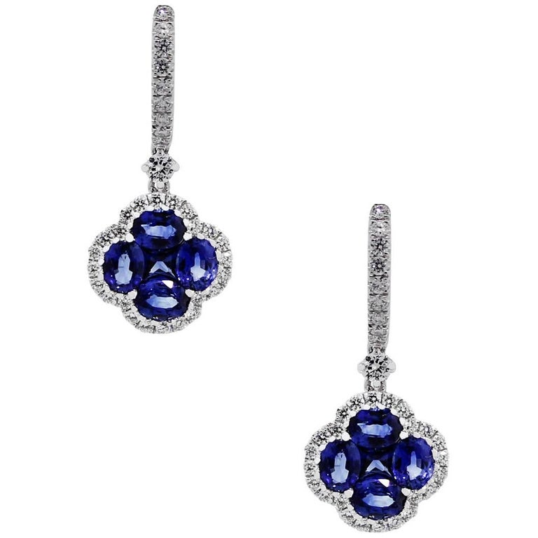 Sapphire and Diamond Dangle Earrings