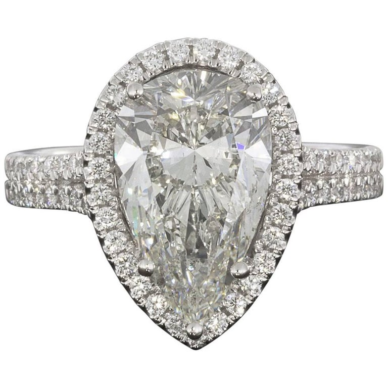 3.96 Carat Platinum Certified Pear Diamond Halo Engagement Ring