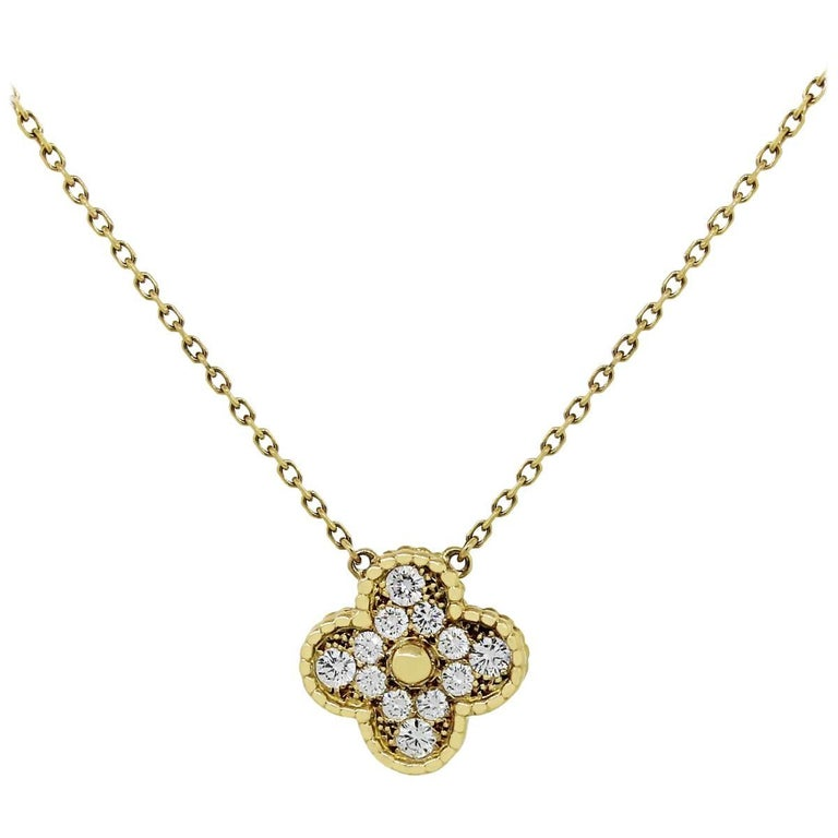 Van Cleef & Arpels Diamond Vintage Alhambra Pendant Necklace