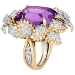 Bielka Amethyst Diamond Gold Platinum Ring
