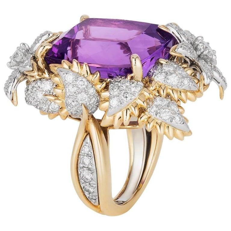 Bielka Amethyst Diamond Gold Platinum Ring