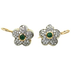 Diamond Emerald Earrings 18 Karat