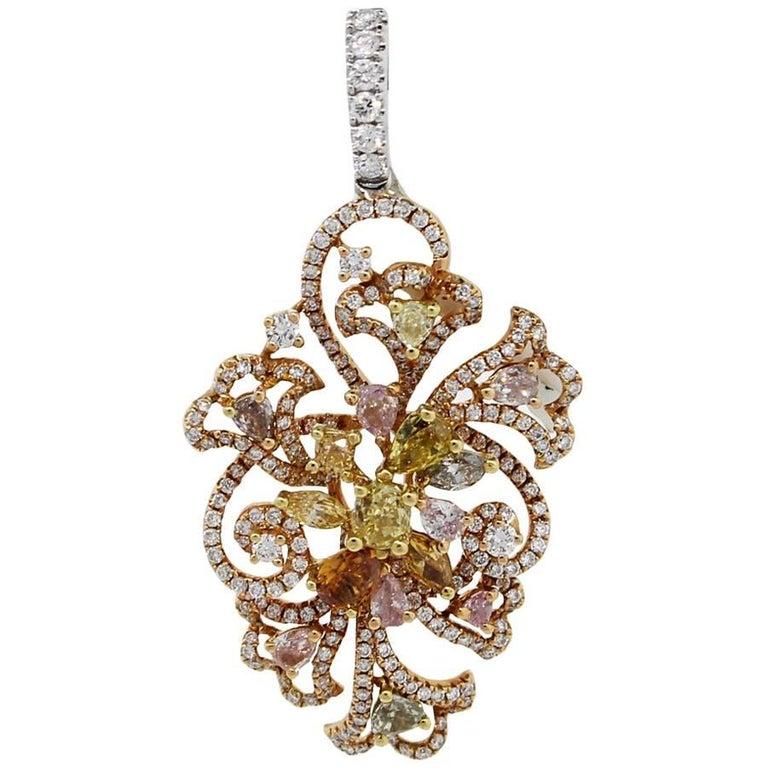 EGL Certified Fancy Colored Diamond Pendant