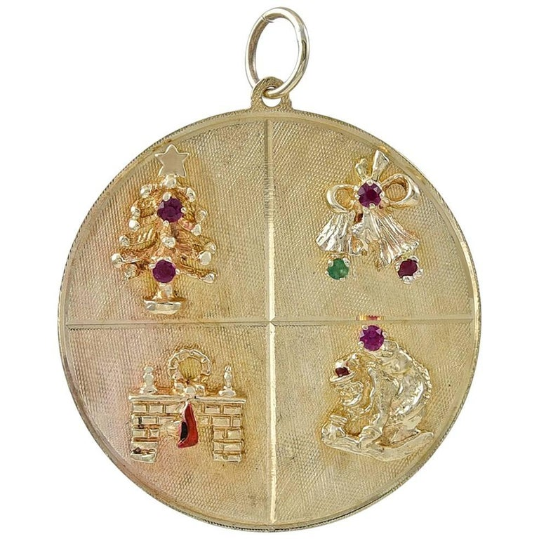 Large Gold Gemset Christmas Charm For Sale