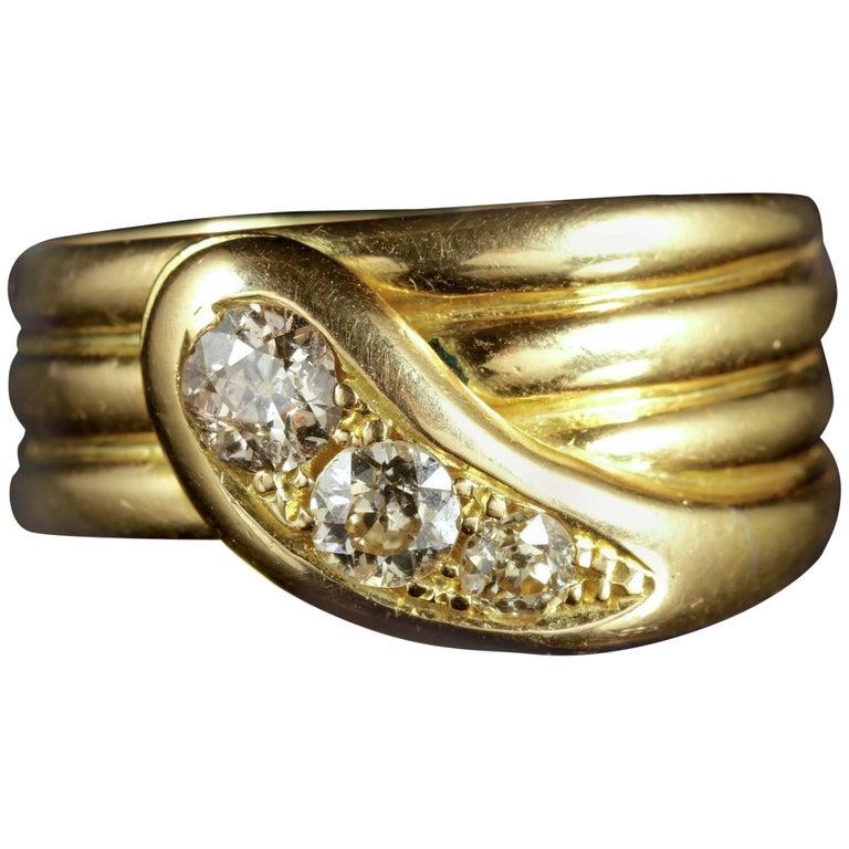 Antique Edwardian 18 Carat Gold Diamond Serpent Ring Dated 1914
