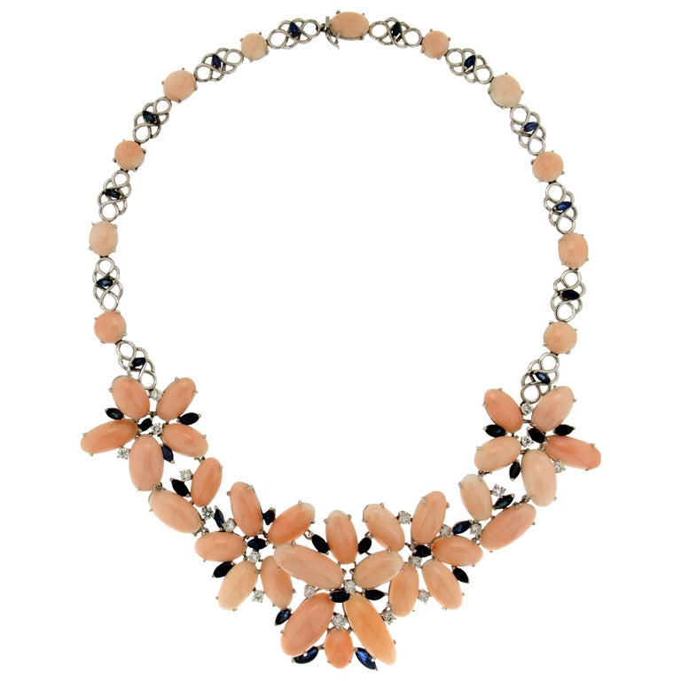 Pink Coral White Gold Diamonds Choker Necklace