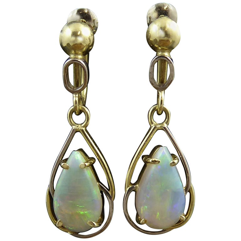 Vintage Pear Shaped Opal Drop Earrings, 18 Carat Gold, circa 1980s