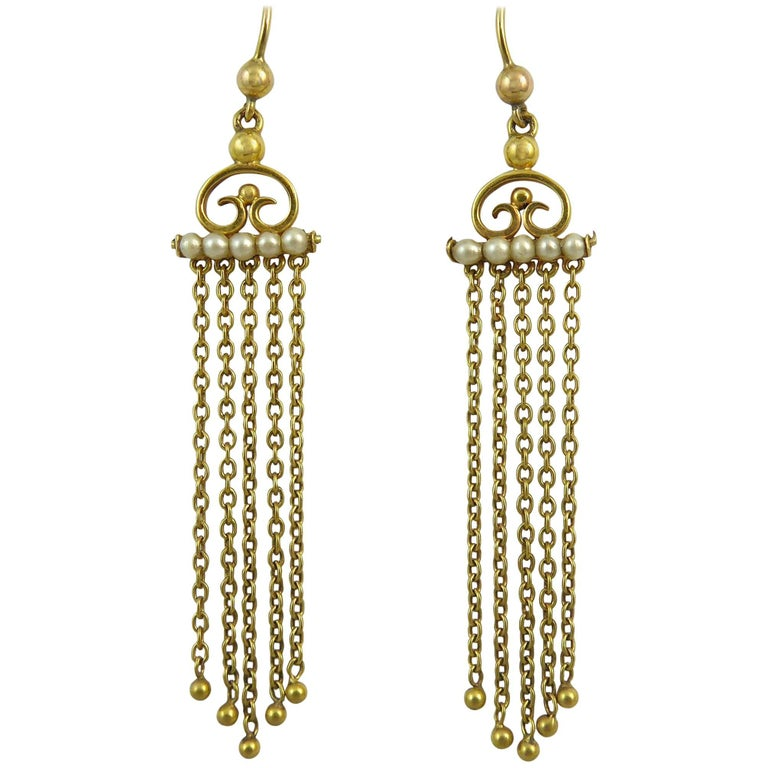 Edwardian Drop Earrings with Pearls, 9 Carat Gold
