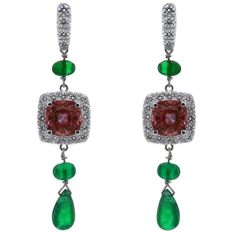 Garnet Cushion and Emerald Drop Earrings in White Gold