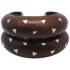 Set of Two Van Cleef & Arpels Rosewood Wood Gold Cuff Bracelets
