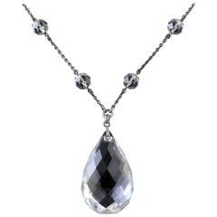 Antique Victorian Long Silver Rock Crystal Necklace, circa 1900 K.Uyeda