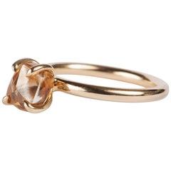 2.90 Carat Rough Fancy Orange Brown Diamond Solitaire Engagement Gold Ring