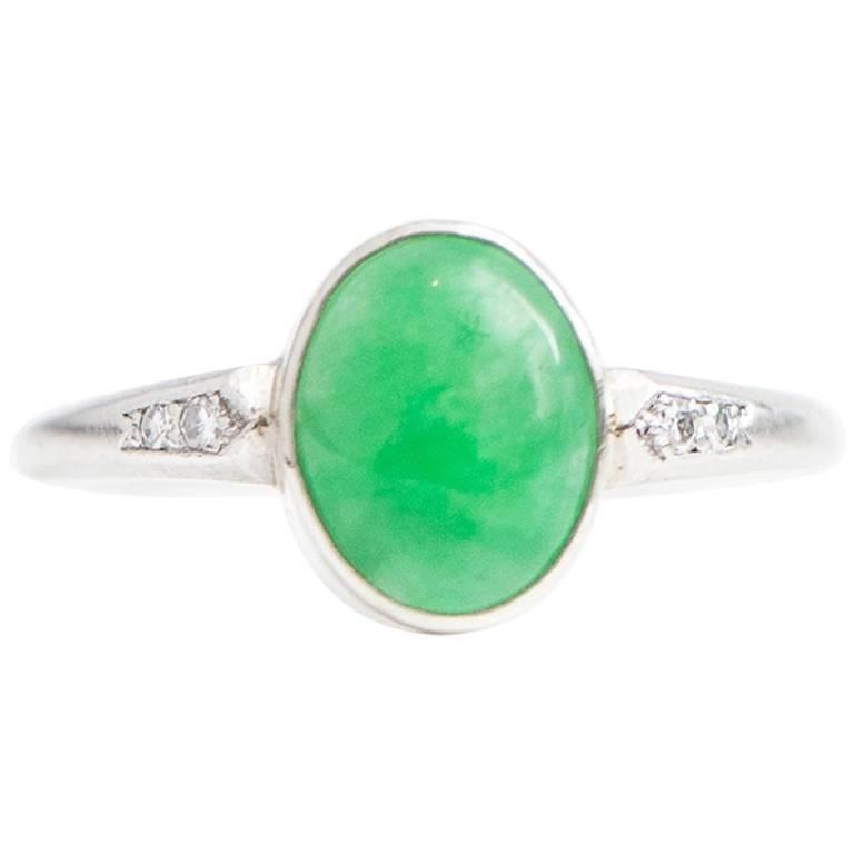 1930s Art Deco Jade Cabochon Diamond Platinum Ring