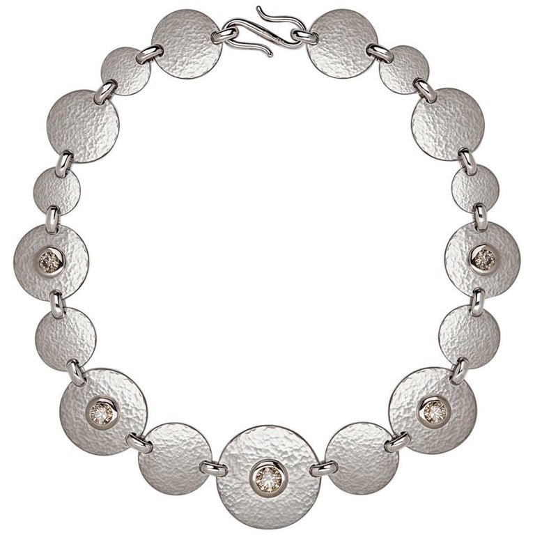 Hammered White Gold Diamond Collier Necklace