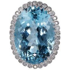 27.0 Carat Intense Blue Aquamarine 0.70 Carat Diamond Vintage Ring