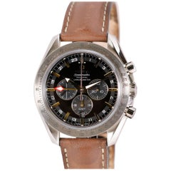 Omega Stainless Steel Speedmaster Broad Arrow GMT Chronograph Automatic Watch