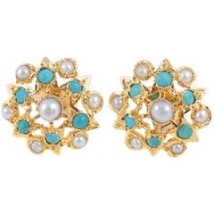 22 Karat Pearl Green Hardstone Earrings