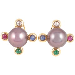 Assael Tahitian Pearl Diamond, Sapphire, Emerald, Ruby Earrings