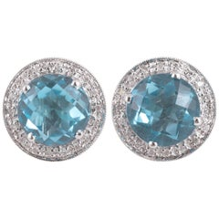 Bright Blue Topaz Diamond Earrings