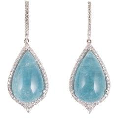Cabochon-Cut 30.00 Carat Aquamarine Diamond Dangle Earrings