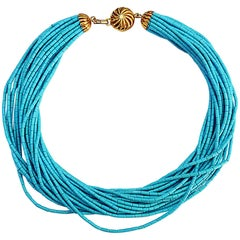 Turquoise 18 Karat Yellow Gold Necklace