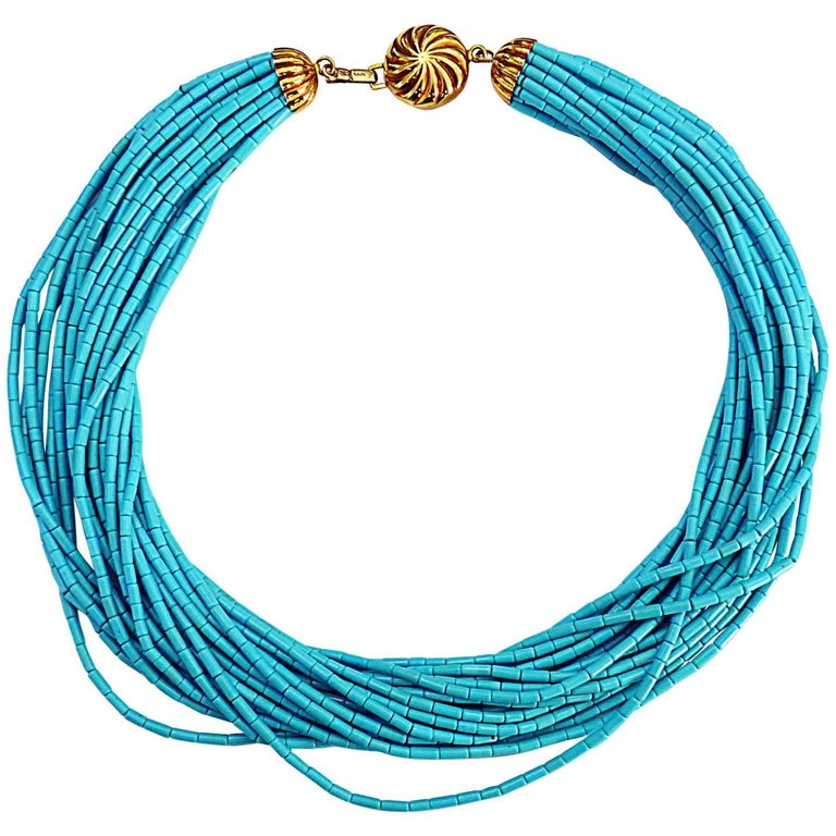 Turquoise 18 Karat Yellow Gold Necklace For Sale