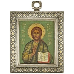 Antique Fabergé Russian Personal Silver Hand-Painted Icon of Christ Pantocrator
