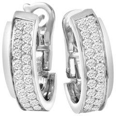 """Piaget """"Possession"""" 18 Karat White Gold Diamond Hoop Earrings"""