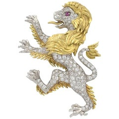 JE Caldwell Diamond Lion Brooch in Platinum and 18 Karat Gold, circa 1950