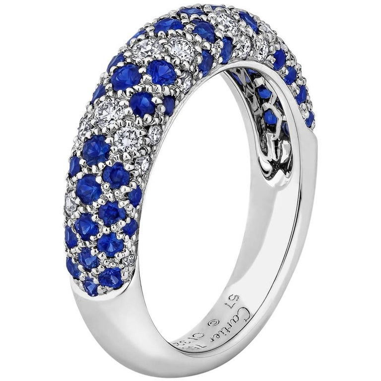 Cartier Diamond Sapphire Gold Ring