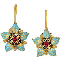 Otto Jacob Burmese Ruby Yellow Diamond Gold Enamel Drop Earrings