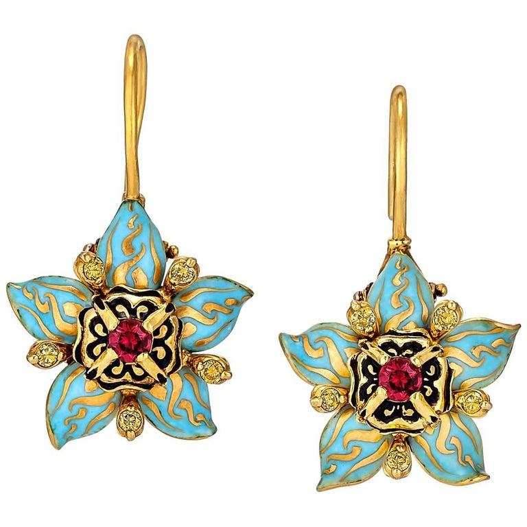 Otto Jacob Burmese Ruby Yellow Diamond Gold Enamel Drop Earrings