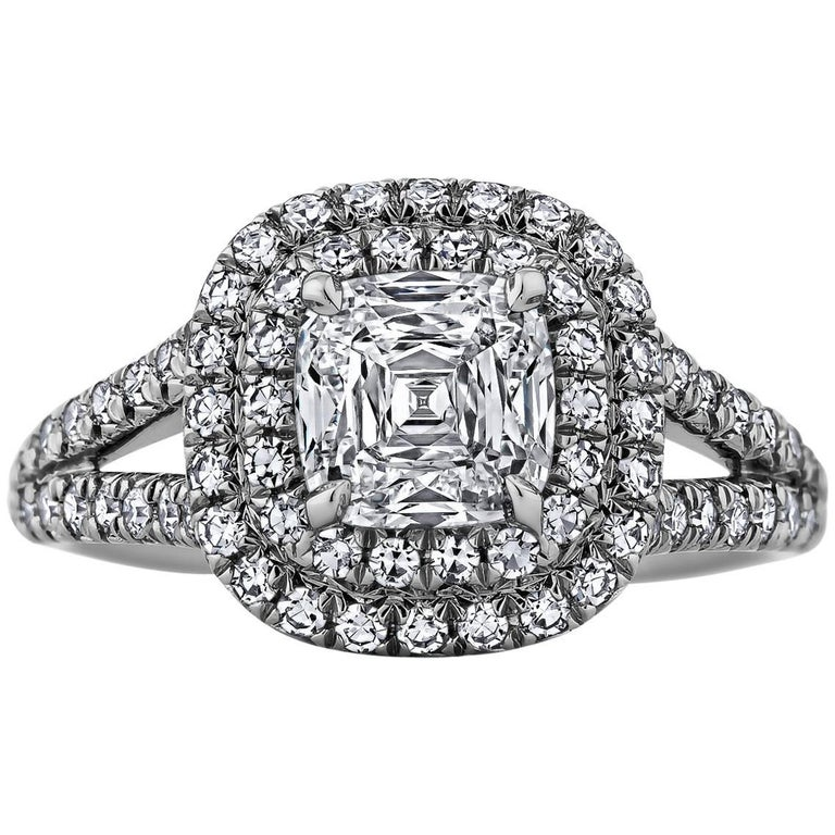 Cushion Cut 1.35 Carat Diamond Platinum Engagement Ring
