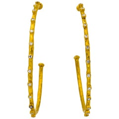 24 Karat Yellow Gold 0.41 Carat Diamonds Hoop Earrings