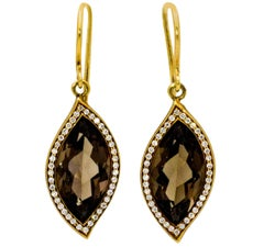 6.30 Carat Smokey Quartz Leaf Diamond 18 Karat Yellow Gold Earrings