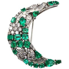 Emerald Diamond Crescent Brooch 14 Karat White Gold