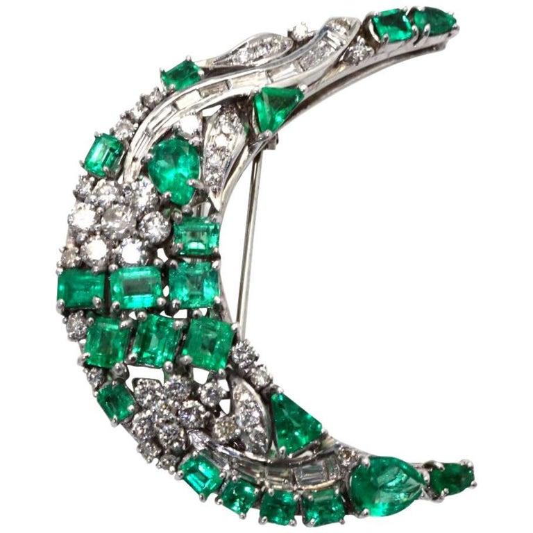 Emerald Diamond Crescent Brooch 14 Karat White Gold