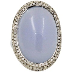 18 Karat White Gold 34.93 Carat Oval Chalcedony 0.99 Carat Diamonds Ring