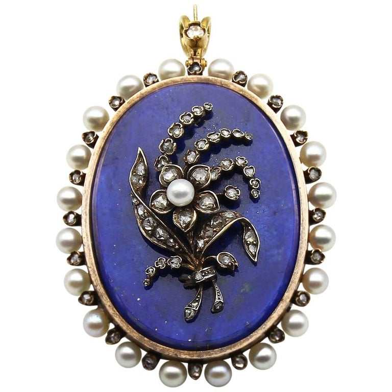 18K Gold Early 20th Century Lapis Lazuli Rose Cut Diamond and seed Pearl Pendant