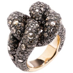 Pomellato Sabbia Collection Ring 18k Rose Gold 7.86 Carat Brown Cognac Diamonds