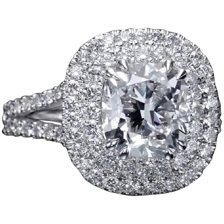 Contemporary 3.28 Carat Cushion Cut Diamond Halo Engagement Ring GIA Certified E / VS1 For Sale