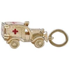 Gold and Enamel Ambulance Charm