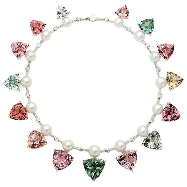 237 Carat Multicoloured Tourmalines 1.27 Carat Diamonds and Pearl Necklace For Sale