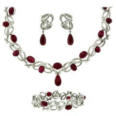 Sotheby's Magnificent 120 Carat Ruby 32 Carat Diamonds Platinum Vintage Parure