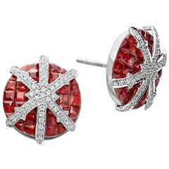 Ruby, Diamond and 18 Karat White Gold Stud Earrings