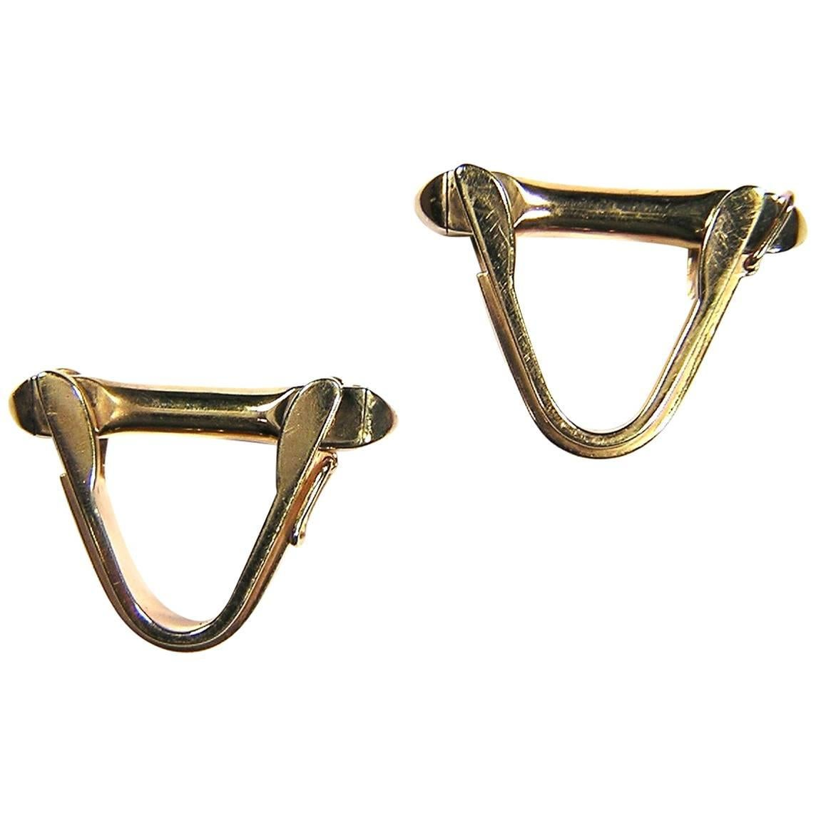 1930s Yellow Gold Stirrup Cufflinks