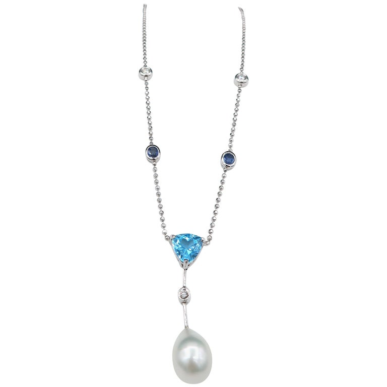 Blue Topaz South Sea Pearl Diamond Blue Sapphire White Gold Chain Drop Necklace