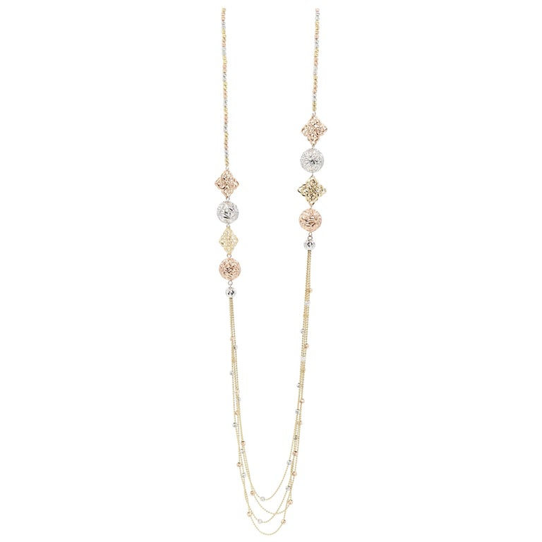 3 Coloured Gold Rose Pink White Yellow Gold Bead Fine Long Chain