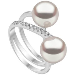 Yoko London Akoya Pearl and Diamond Ring set in 18 Karat White Gold