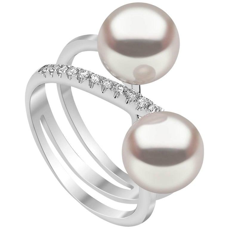 Yoko London Akoya Pearl and Diamond Ring set in 18 Karat White Gold